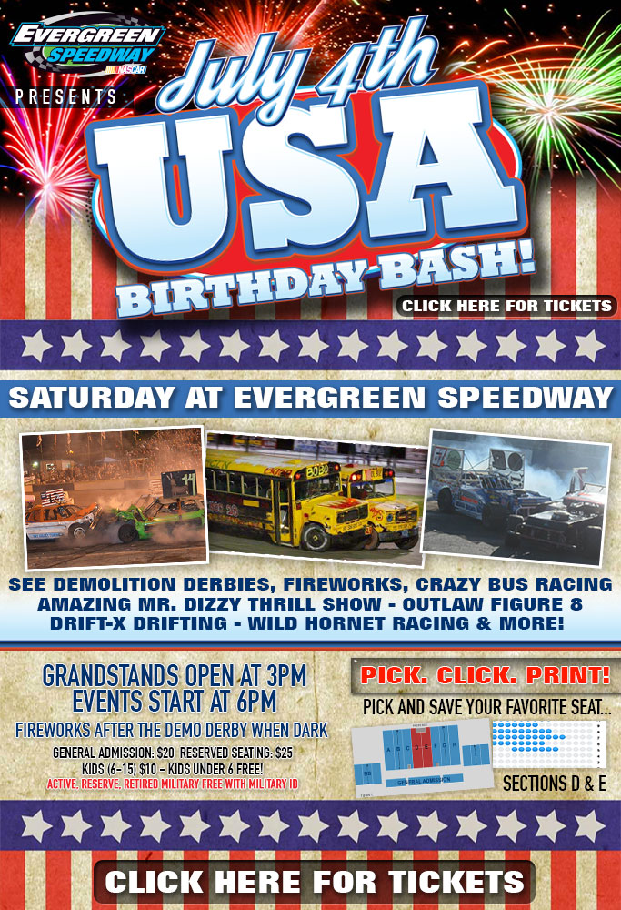 July 4th Event Info Tickets Evergreen Speedway